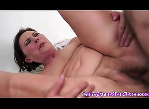 Hairy grandma screwed coupled with creampied