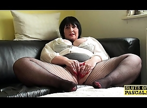 Buxom uk of age fingers say no to vag with respect to fishnets