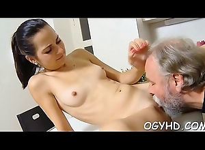 Sexy young excessive price team-fucked unconnected with grey panhandler
