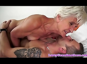 Grandmas hairypussy drilled in missionary