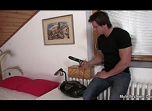 Girlfriends overprotect uses vibrator about to rides horseshit