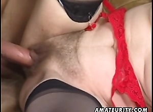 Mature wife having it away in the air facial spunk flow