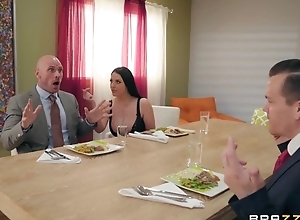 Brazzers wife enticed will not hear of husband's business right hand