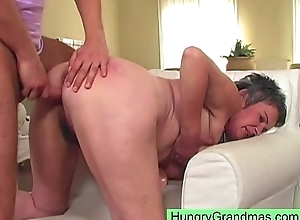Grandma does some doggy style making out