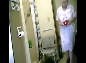 Woooow...watch my granny unclothed all over shower. Hidden webcam