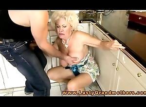 Crude grandma is boastfully a footjob