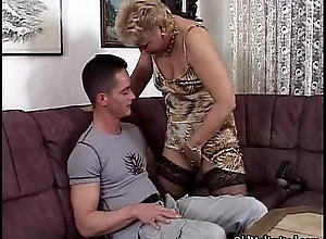 Horn-mad mart granny with nylons engulfing