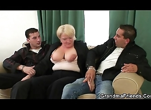 A handful of buddies go on with granny